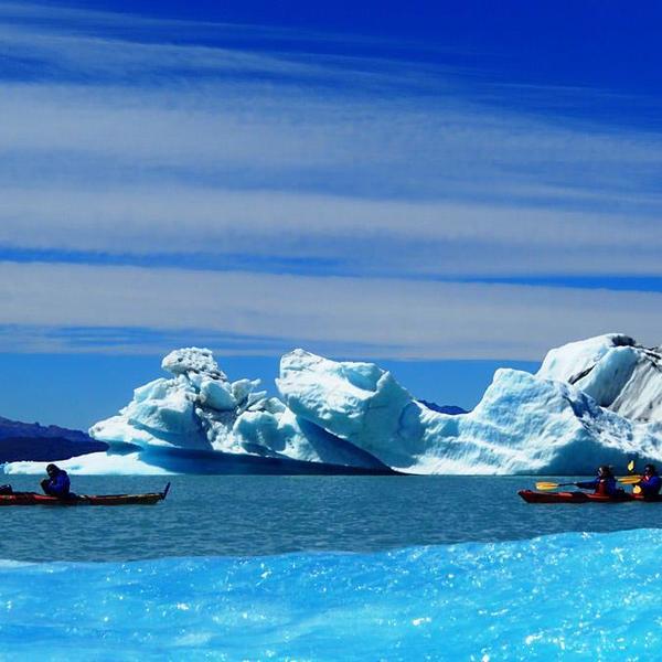 Kayaks navigant entre des icebergs
