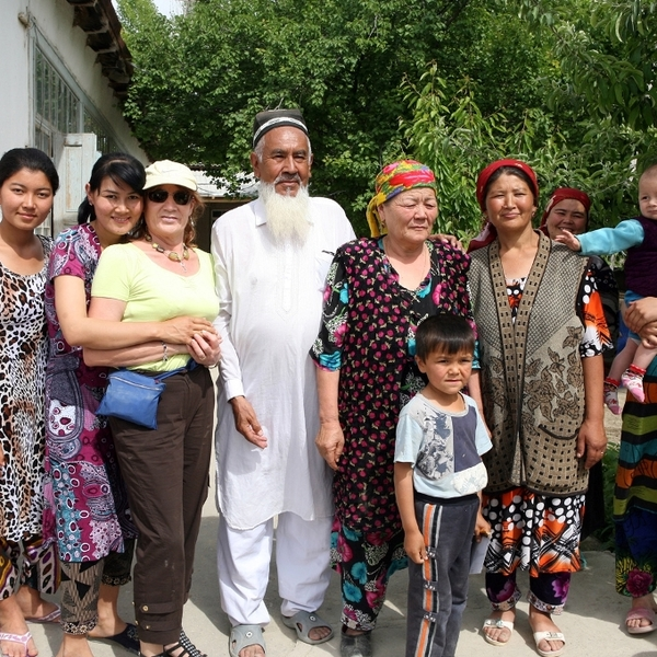 Meeting locals in Uzbekistan