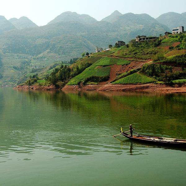 Das Bild zeigt den Yangtze- Fluss.