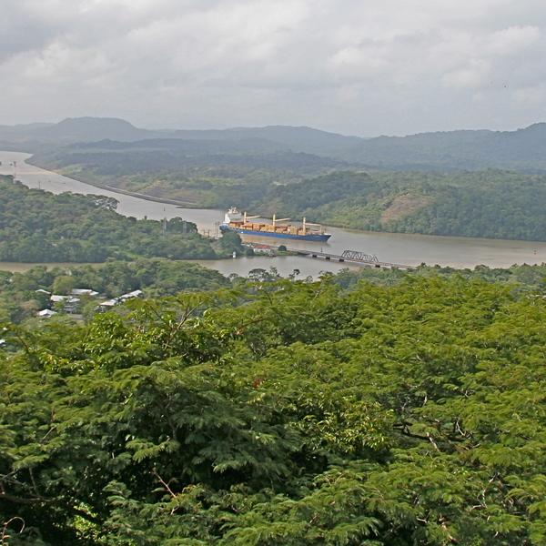 Vue sur un cargo navigant sur le canal de Panama au milieu de la forêt