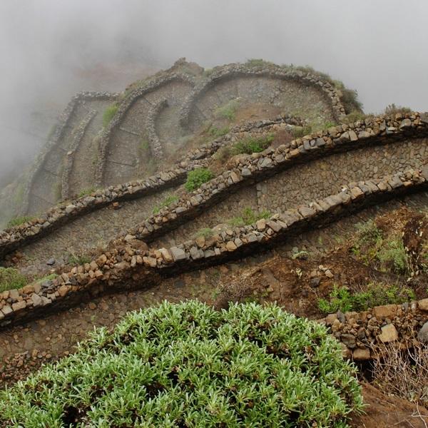Vue plongeante sur des sentiers à flanc de montagne noyés dans la brume