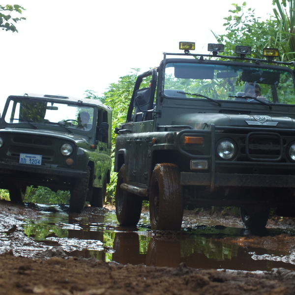 Explore the Boloven Plateau in southern Laos on-board vintage Jeeps amidst coffee trees plantations, and waterfalls.
