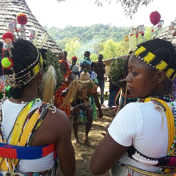Femmes en costume traditionnel assistant à une danse