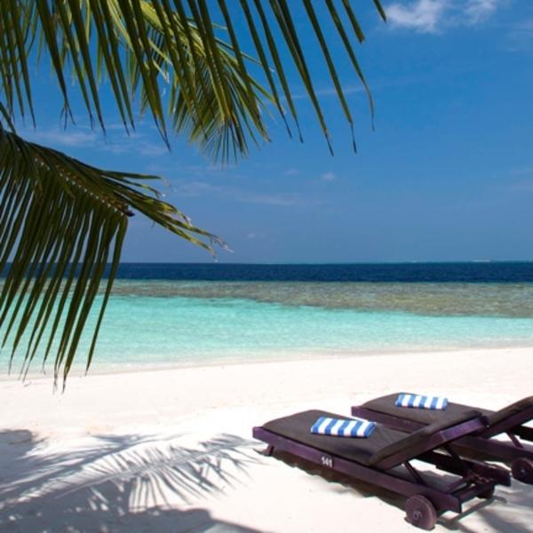 Une plage de sable blanc avec deux banquettes face à la mer turquoise