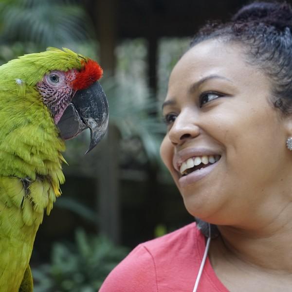 Une femme face à un perroquet vert