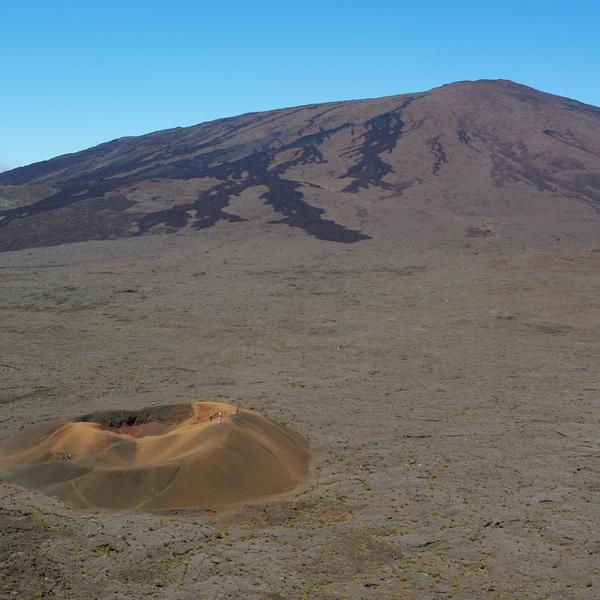Visiteurs minuscules autour d'un cône volcanique sur les flancs du Piton de la Fournaise