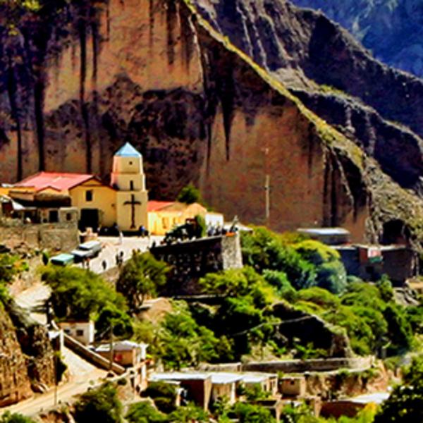 Petit village niché entre de grandes parois rocheuses