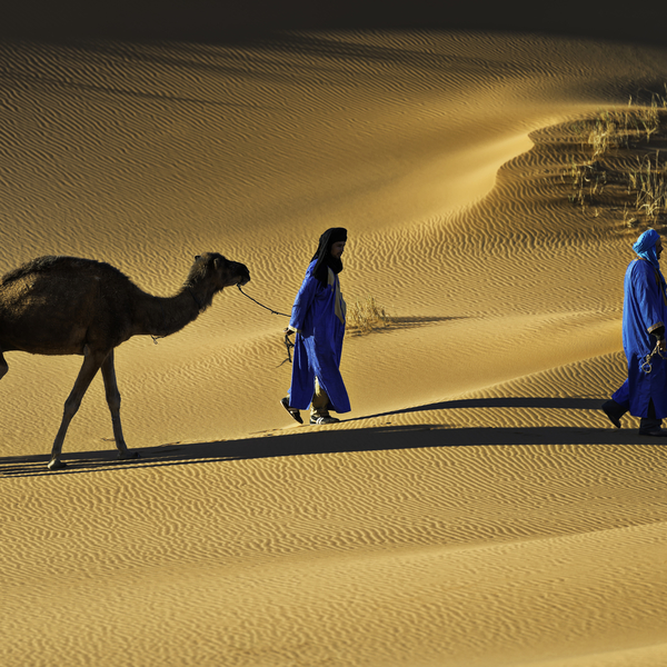 Overnight in the Sahara desert and camel riding.