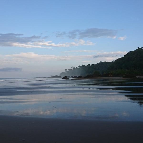 Das Bild zeigt einen Strand im morgendlichen Licht.