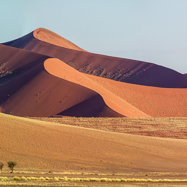 Sossusvlei - With high red dunes in deep contrast with the blue sky! To be discovered by land or air.