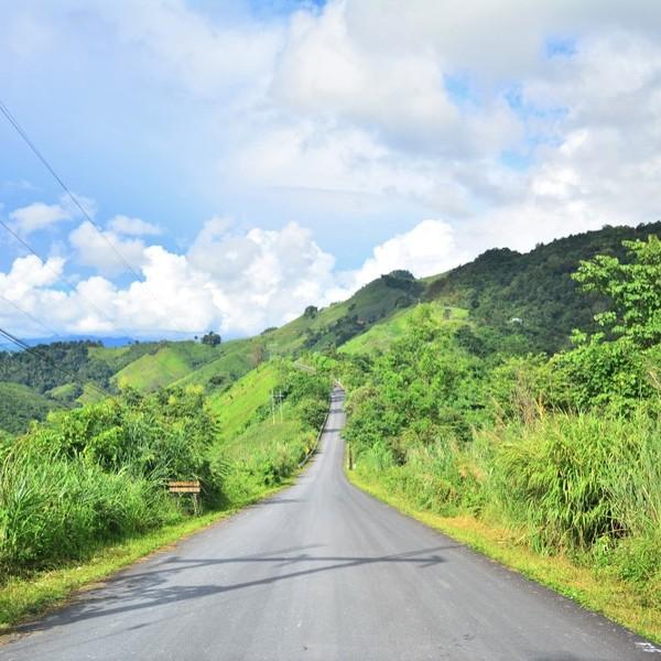 Das Bild zeigt eine Straße in Thailand.