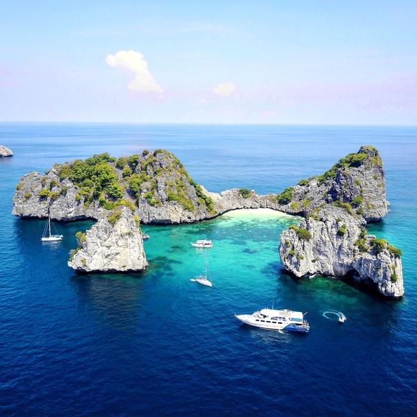 Vue aérienne des îles de Trang