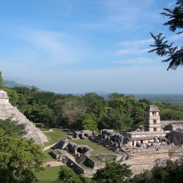 Das Bild zeigt die Mayastätte Palenque.