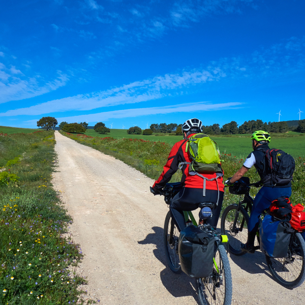 Cyclists along the Camino de Santiago