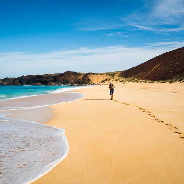 Un randonneur sur une plage de sable doré