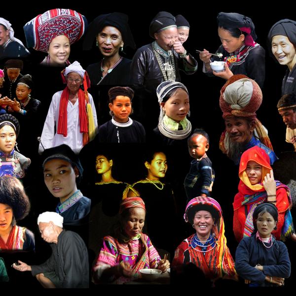 Patchwork de portraits de représentants des différentes ethnies vivant au Vietnam