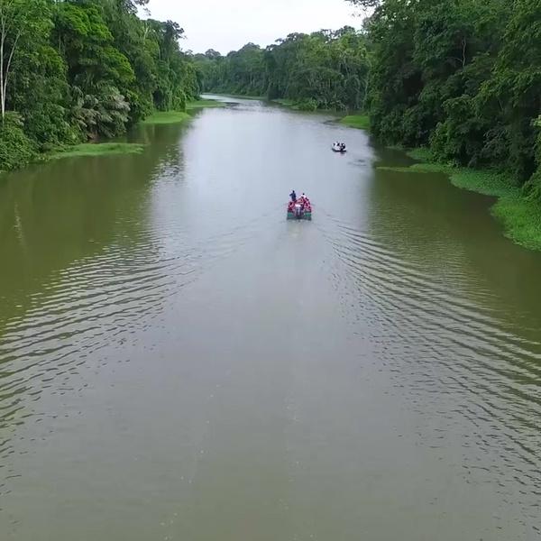 Balsa entre ríos y jungla